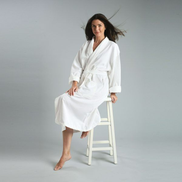 Chamois Robe With Grid Pattern